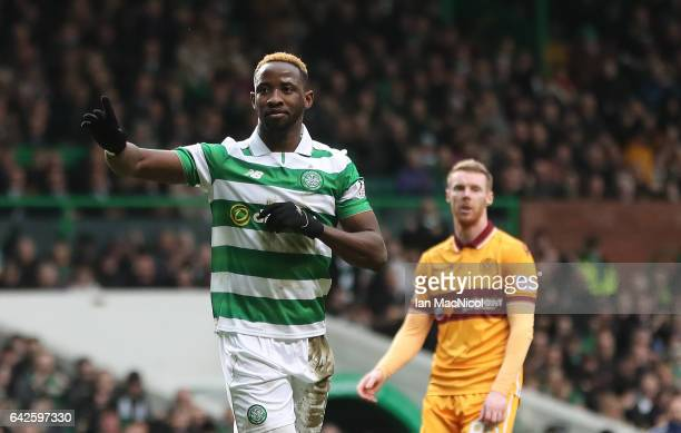 Moussa Dembele of Celtic celebrates after he scores the opening goal from the penalty spot during the Ladbrokes Scottish Premiership match between...