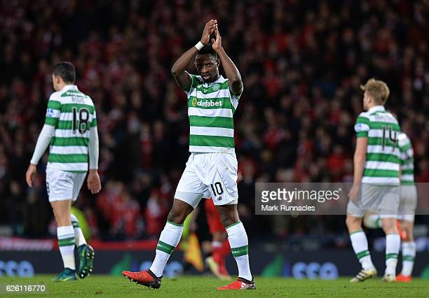 Moussa Dembele of Celtic celebrates after scoring Celtic's 3rd goal from the penalty spot during the Betfred Cup Final between Aberdeen FC and Celtic...