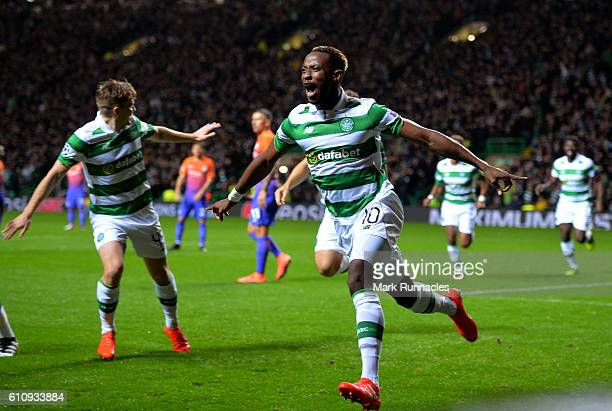 Moussa Dembele of Celtic celebrates after scoring the opening goal during the UEFA Champions League group C match between Celtic FC and Manchester...