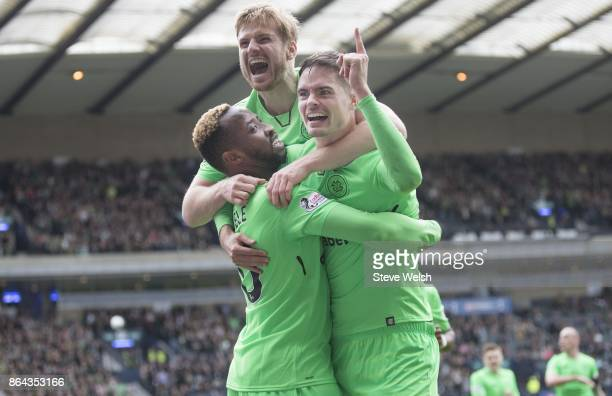 Moussa Dembele of Celtic celebrates his goal Celtic's third with Michael Lustig and Stuart Armstrong during the Betfred Cup SemiFinal at Hampden Park...