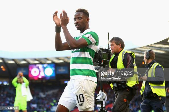 Moussa Dembele of Celtic celebrates victory during the Betfred Cup Semi Final match between Rangers and Celtic at Hampden Park on October 23 2016 in...