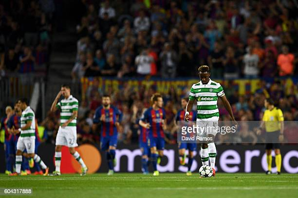 Moussa Dembele of Celtic looks dejected as Barcelona score their first goal during the UEFA Champions League Group C match between FC Barcelona and...