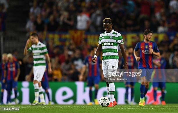 Moussa Dembele of Celtic looks dejected during the UEFA Champions League Group C match between FC Barcelona and Celtic FC at Camp Nou on September 13...