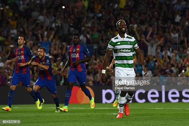 Moussa Dembele of Celtic reacts after missing a penalty during the UEFA Champions League Group C match between FC Barcelona and Celtic FC at Camp Nou...