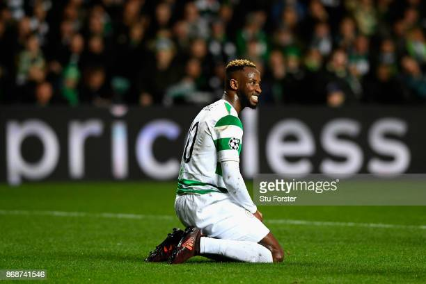 Moussa Dembele of Celtic reacts during the UEFA Champions League group B match between Celtic FC and Bayern Muenchen at Celtic Park on October 31...