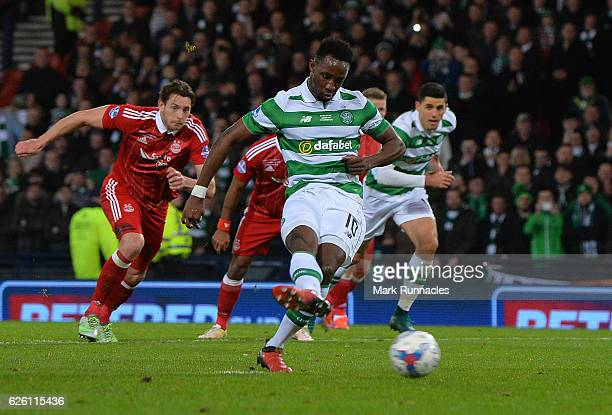 Moussa Dembele of Celtic scores Celtic's 3rd goal from the penalty spot during the Betfred Cup Final between Aberdeen FC and Celtic FC at Hampden...
