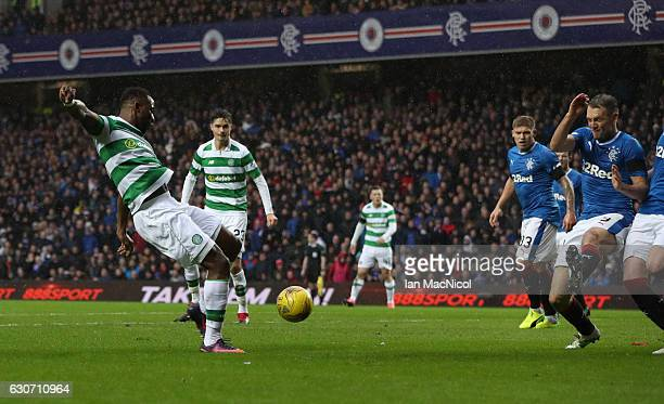 Moussa Dembele of Celtic scores during the Rangers v Celtic Ladbrokes Scottish Premiership match at Ibrox Stadium on December 31 2016 in Glasgow...