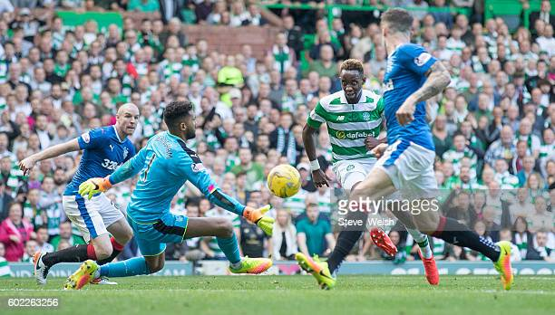 Moussa Dembele of Celtic scores his 2nd goal during the Ladbrokes Scottish Premiership match between Celtic and Rangers at Celtic Park on September...