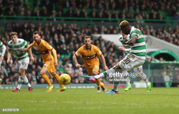 Moussa Dembele of Celtic scores the opening goal from the penalty spot during the Ladbrokes Scottish Premiership match between Celtic and Motherwell...