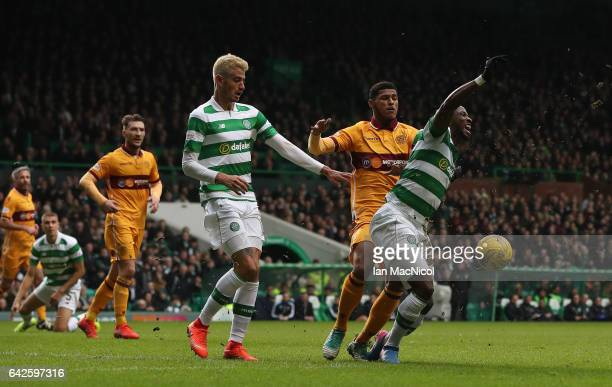 Moussa Dembele of Celtic wins a penalty during the Ladbrokes Scottish Premiership match between Celtic and Motherwell at Celtic Park on February 18...