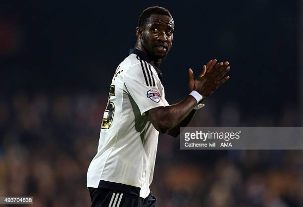 Moussa Dembele of Fulham applauds during the Sky Bet Championship match between Fulham and Leeds United at Craven Cottage on October 21 2015 in...