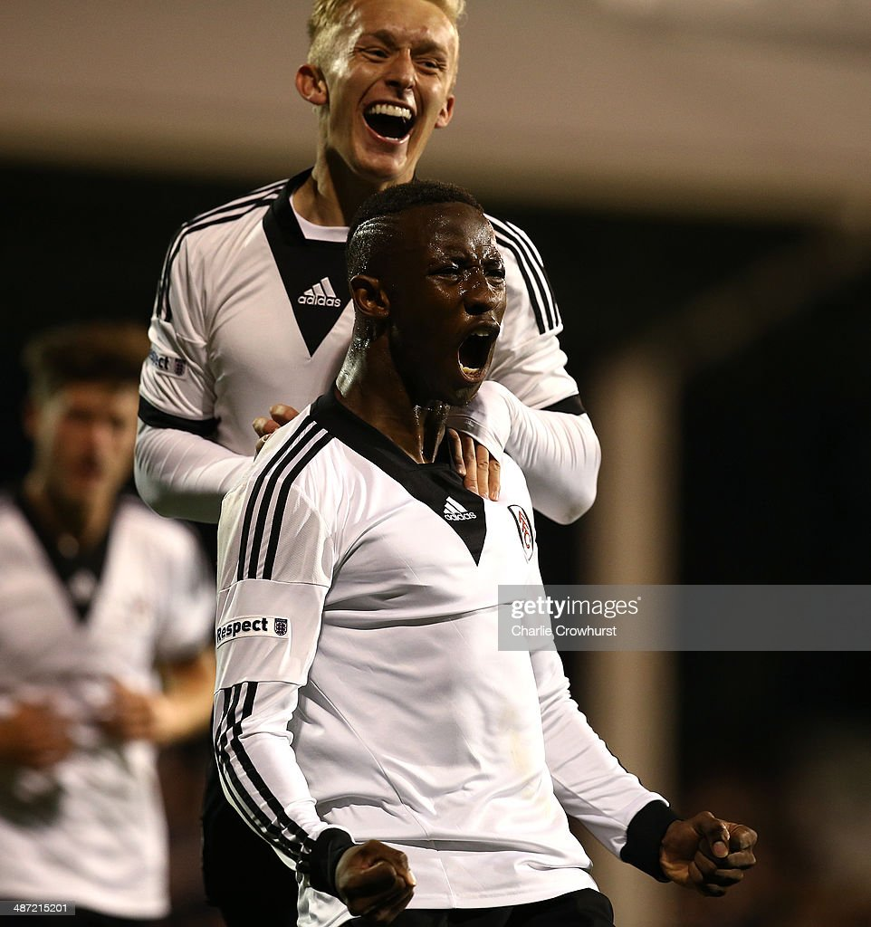 Moussa Dembele of Fulham celebrates after scoring the teams first goal during the FA Youth Cup Final: First Leg match between Fulham and Chelsea at Craven Cottage on April 28, 2014 in London, England.