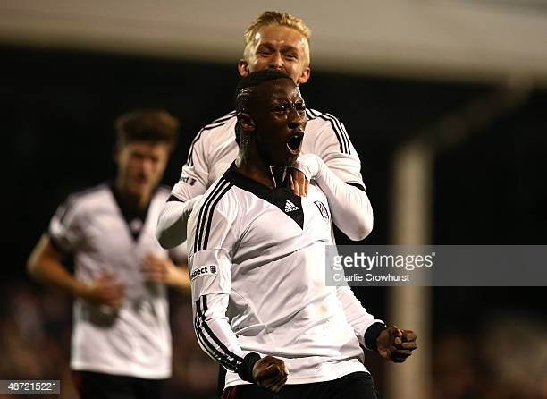 Moussa Dembele of Fulham celebrates after scoring the teams first goal during the FA Youth Cup Final First Leg match between Fulham and Chelsea at...