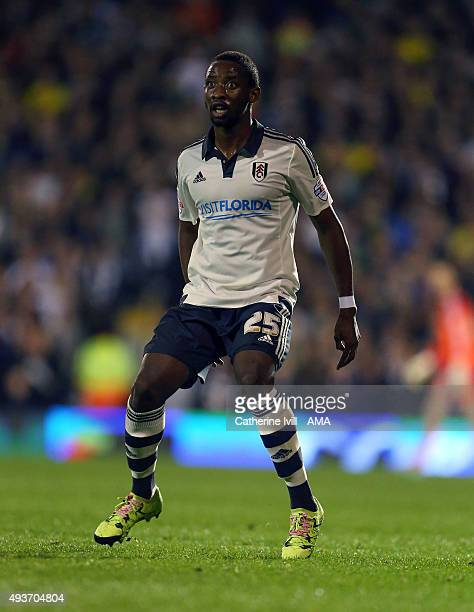 Moussa Dembele of Fulham during the Sky Bet Championship match between Fulham and Leeds United at Craven Cottage on October 21 2015 in London England