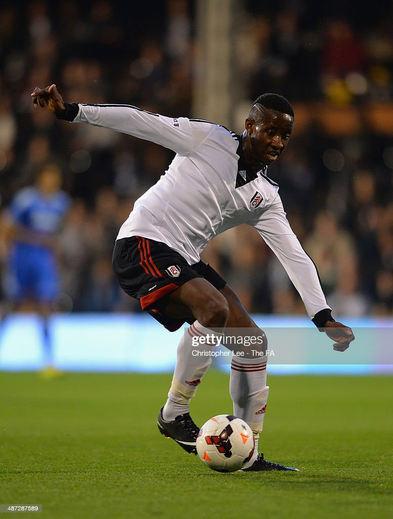 Moussa Dembele of Fulham U18 in action during the FA Youth Cup Final First Leg match between Fulham U18 and Chelsea U18 at Craven Cottage on April 28, 2014 in London, England.