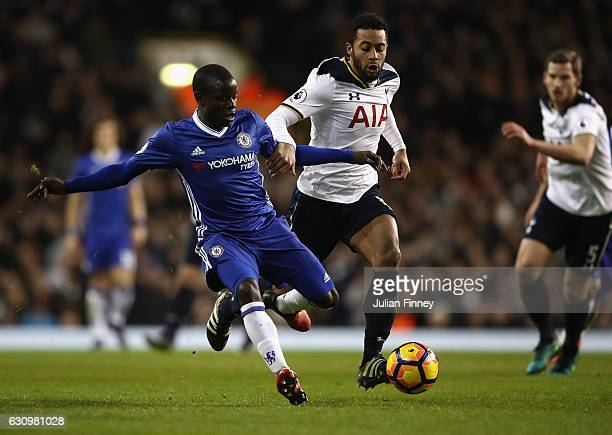 Moussa Dembele of Spurs battles with N'Golo Kante of Chelsea during the the Premier League match between Tottenham Hotspur and Chelsea at White Hart...