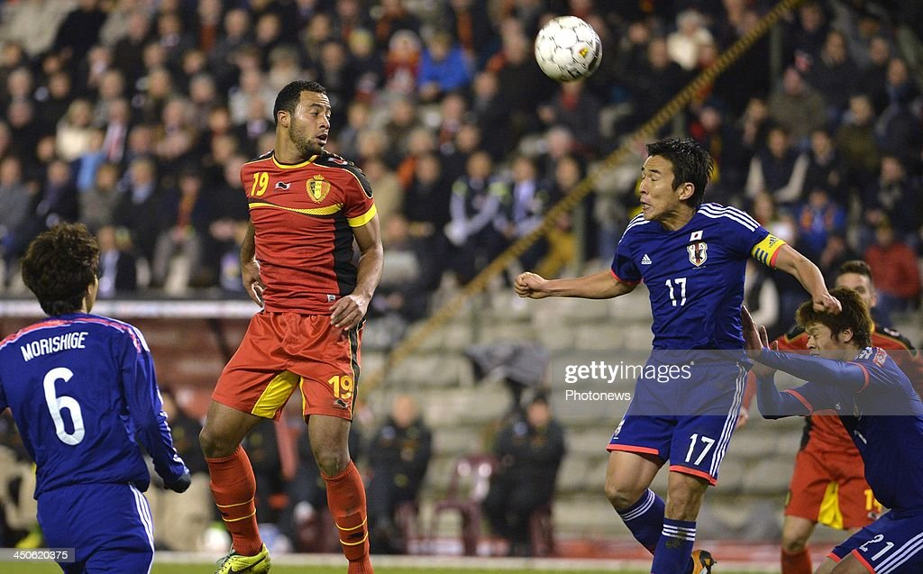 Moussa Dembele of Tottenham Hotspur FC - Hasebe Makoto of FC Nürnberg (Germany) pictured during the international friendly match before the World Cup in Brasil between Belgium and Japan on November 19, 2013 in Brussels, Belgium
