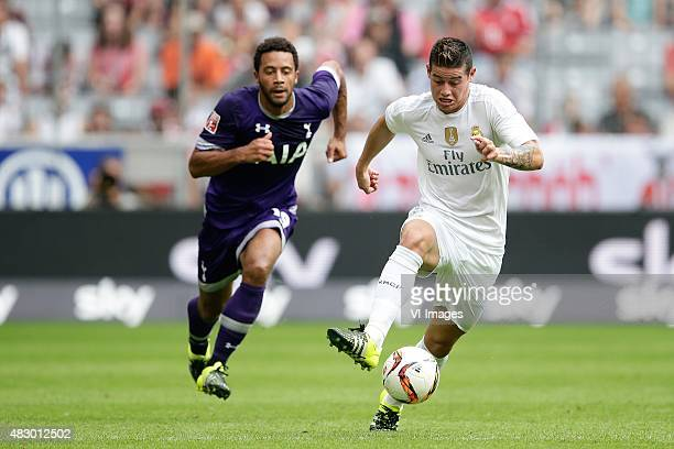Moussa Dembele of Tottenham Hotspur James Rodriguez of Real Madrid during the AUDI Cup match between Real Madrid and Tottenham Hotspur on August 4...