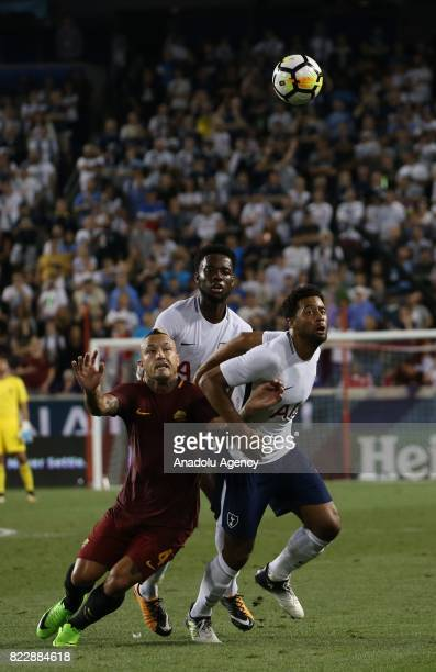 Moussa Dembele of Tottenham in action against Nainggolan of AS Roma during a friendly match between AS Roma and Tottenham within International...