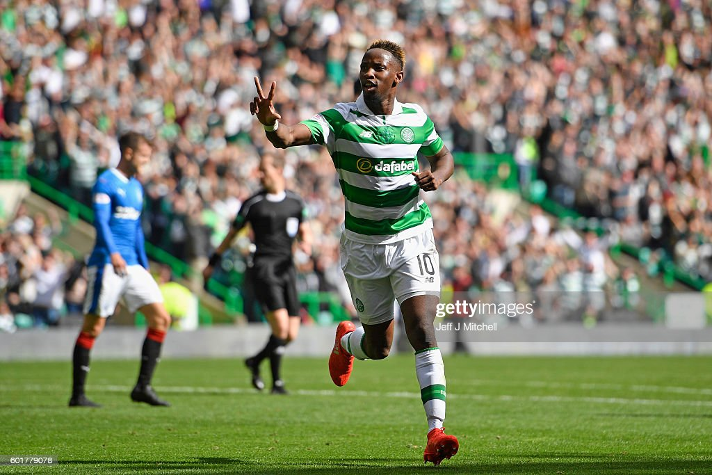 Moussa Dembelle of Celtic celebrates after scoring his third goal during the Ladbrokes Scottish Premier league match between Celtic and Rangers at Celtic Park at Celtic Park Stadium on September 10, 2016 in Glasgow, Scotland.