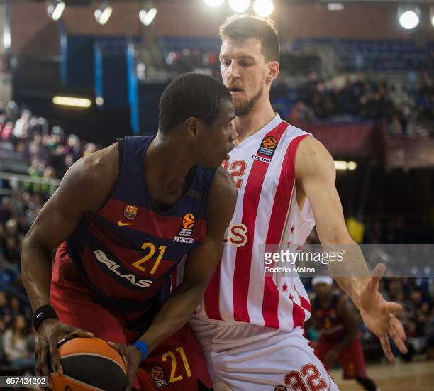 Moussa Diagne #21 of FC Barcelona Lassa in action during the 2016/2017 Turkish Airlines EuroLeague Regular Season Round 28 game between FC Barcelona...