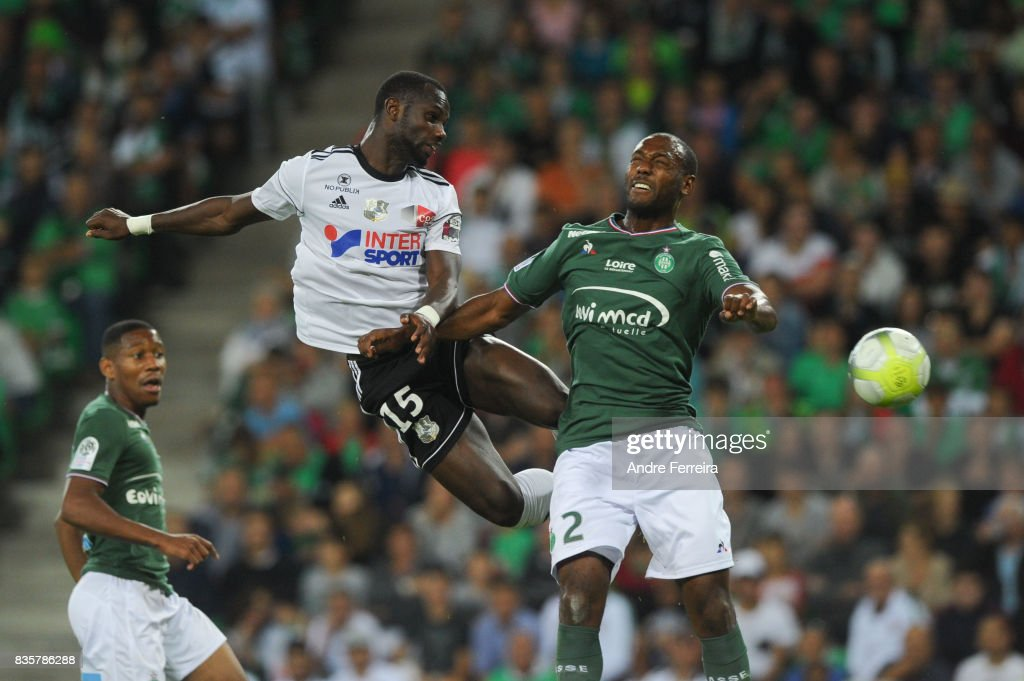 Moussa Konate of Amiens and Kevin Theophile Catherine of Saint Etienne during the Ligue 1 match between AS Saint Etienne and Amiens SC at Stade Geoffroy Guichard on August 19, 2017 in Saint Etienne, France.
