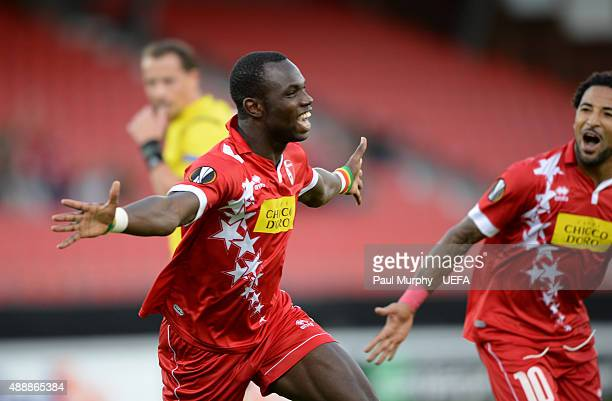 Moussa Konate of FC Sion celebrates scoring his side's first goal during the UEFA Europa League group B match between FC Sion and FC Rubin Kazan at...