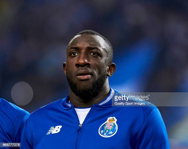Moussa Marega of FC Porto looks on prior to the UEFA Champions League group G match between FC Porto and RB Leipzig at Estadio do Dragao on November...