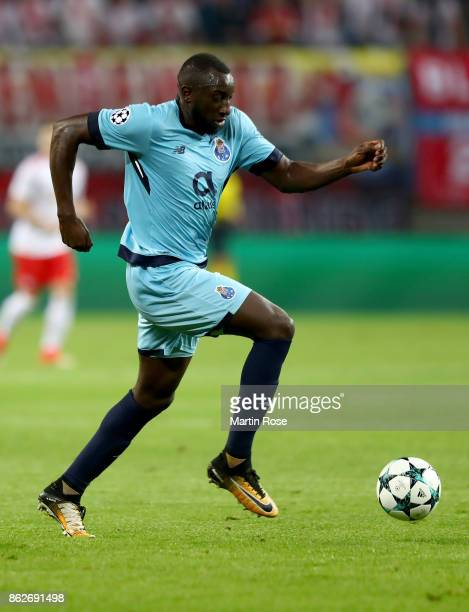 Moussa Marega of Porto runs with the ball during the UEFA Champions League group G match between RB Leipzig and FC Porto at Red Bull Arena on October...