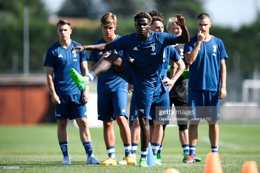 Moussa Ndiaye of Juventus Primavera during a training session on July 16, 2017 in Vinovo, Italy.