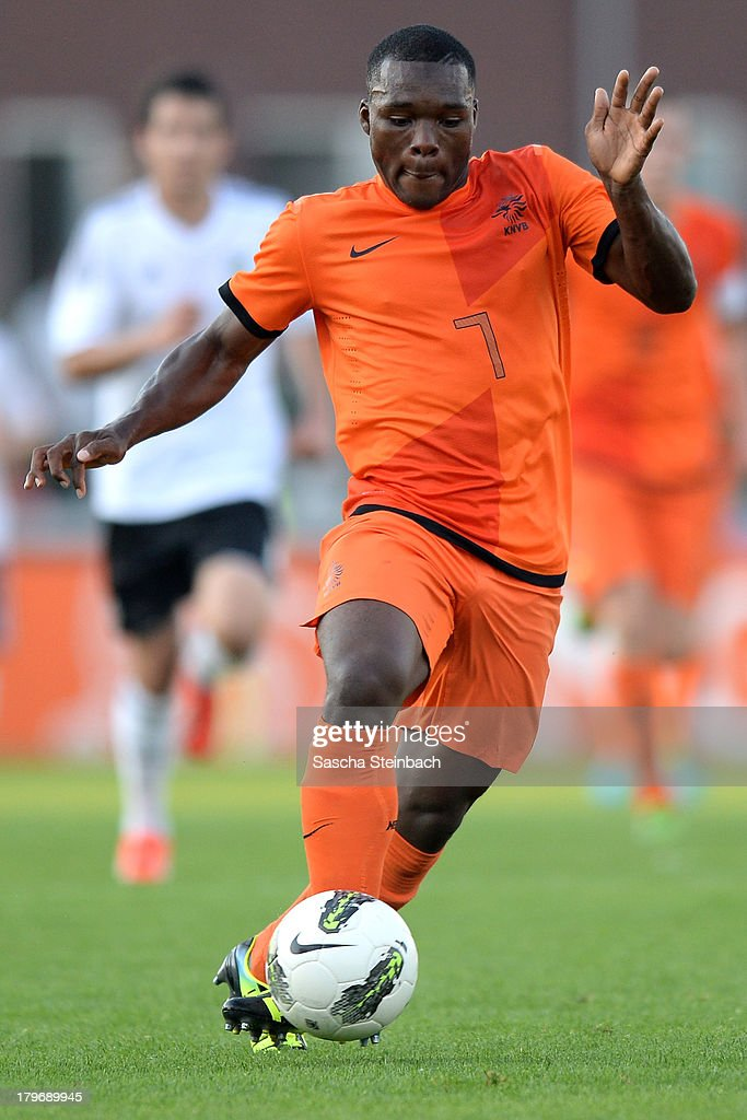 Moussa Sanoh of The Netherlands runs with the ball during the U19 international friendly match between The Netherlands and Germany on September 6, 2013 in Nijmegen, Netherlands.