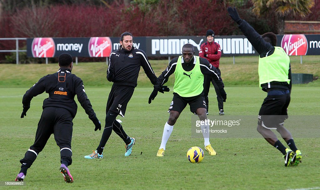 Moussa Sissoko (3L) during a Newcastle United training session at the Little Benton training ground on February 08, 2013 in Newcastle upon Tyne, England.
