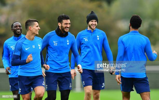 Moussa Sissoko Erik Lamela Paulo Gazzaniga and Eric Dier during the Tottenham Hotspur training session at Tottenham Hotspur Training Centre on...