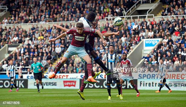 Moussa Sissoko heads the opening goal for Newcastle during the Barclays Premier League match between Newcastle United and West Ham United at St...