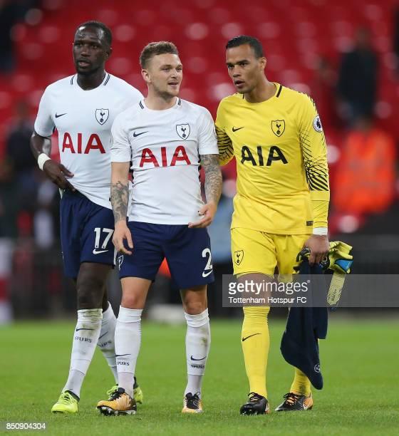 Moussa Sissoko Kieran Trippier and Michel Vorm of Tottenham walk off after the Carabao Cup Third Round match between Tottenham Hotspur and Barnsley...