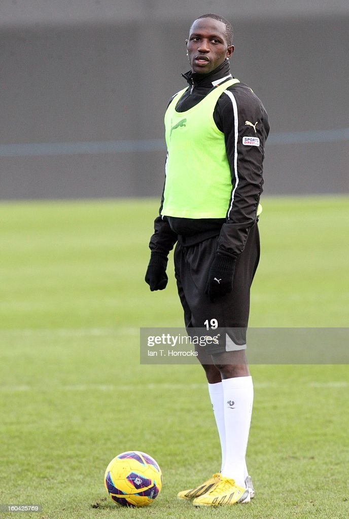 Moussa Sissoko looks on during a Newcastle United training session at The Little Benton training ground on January 31, 2013 in Birmingham, England.