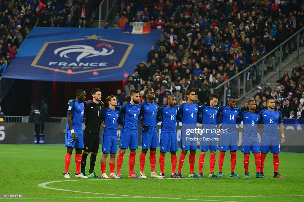 Moussa Sissoko midfielder, Hugo Lloris goalkeeper, Antoine Griezmann forward, Olivier Giroud forward, Paul Pogba midfielder, Djibril Sidibe defender, Raphael Varane defender, Laurent Koscielny defender, Patrice Evra defender, Dimitri Payet midfielder of France Football team respect one minute of silence in honor of the victims of the 2015 terrorism attack in Paris during the International match for the FIFA 2018 World Cup Qualifier between France and Sweden held at Stade de France on November 11, 2016 in Paris.