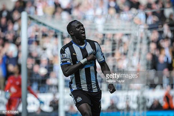 Moussa Sissoko of Newcastle celebrates after scoring Newcastle's second goal during the Barclays Premier League match between Newcastle United and...