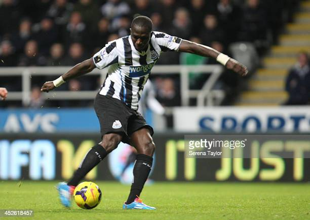 Moussa Sissoko of Newcastle scores their second goal during the Barclays Premier League match between Newcastle United and West Bromwich Albion at...