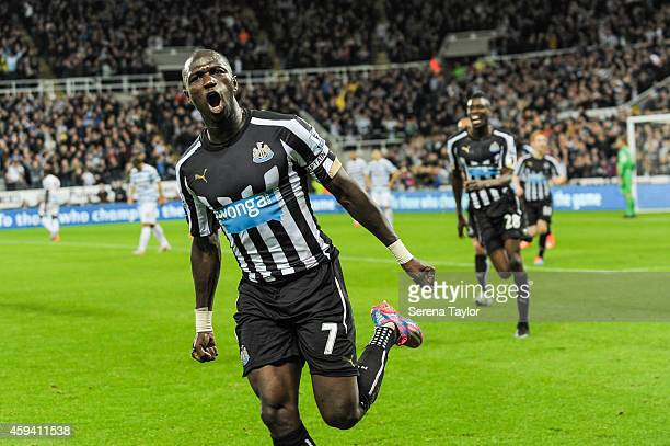 Moussa Sissoko of Newcastle United celebrates after scoring the opening goal during the Barclays Premier League match between Newcastle United and...