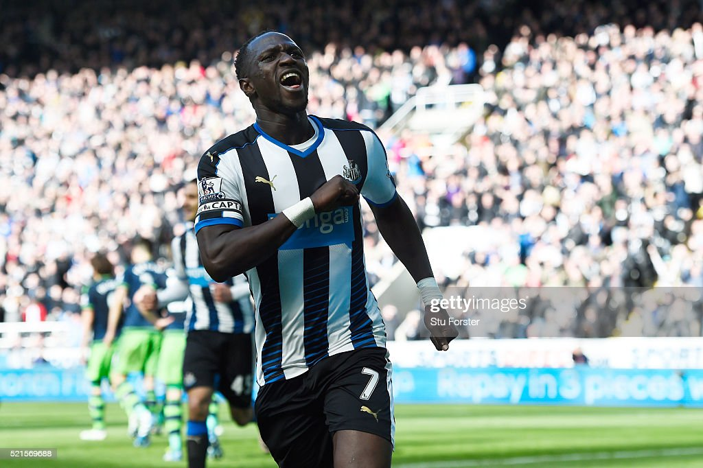 <a gi-track='captionPersonalityLinkClicked' href=/galleries/search?phrase=Moussa+Sissoko&family=editorial&specificpeople=4191251 ng-click='$event.stopPropagation()'>Moussa Sissoko</a> of Newcastle United celebrates scoring his sides second goal during the Barclays Premier League match between Newcastle United and Swansea City at St James' Park on April 16, 2016 in Newcastle, England.