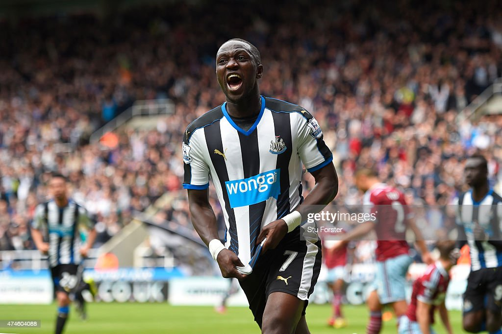<a gi-track='captionPersonalityLinkClicked' href=/galleries/search?phrase=Moussa+Sissoko&family=editorial&specificpeople=4191251 ng-click='$event.stopPropagation()'>Moussa Sissoko</a> of Newcastle United celebrates scoring his team's first goal during the Barclays Premier League match between Newcastle United and West Ham United at St James' Park on May 24, 2015 in Newcastle upon Tyne, England.