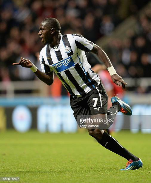Moussa Sissoko of Newcastle United celebrates scoring his team's second goal during the Barclays Premier League match between Newcastle United and...