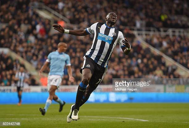 Moussa Sissoko of Newcastle United reacts after a missed chance on goal during the Barclays Premier League match between Newcastle United and...