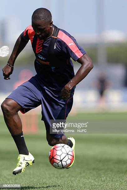 Moussa Sissoko of the Newcastle United runs through some drills during practice at Marquette University Valley Fields on July 13 in Milwaukee...