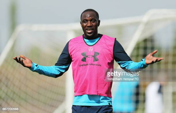 Moussa Sissoko of Tottenham during the Tottenham Hotspur training session at the Tottenham Hotspur Training Centre on April 11 2017 in Enfield England