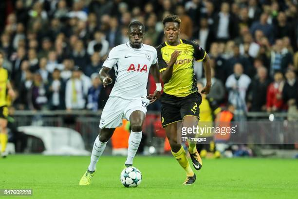 Moussa Sissoko of Tottenham Hotspur and DanAxel Zagadou of Dortmund battle for the ball during the UEFA Champions League group H match between...