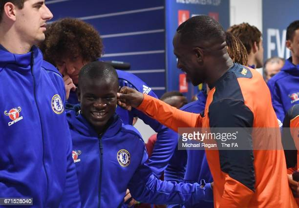 Moussa Sissoko of Tottenham Hotspur and N'Golo Kante of Chelsea share a joke during The Emirates FA Cup SemiFinal between Chelsea and Tottenham...
