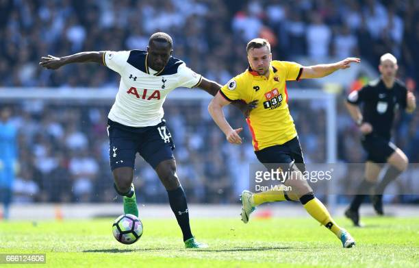 Moussa Sissoko of Tottenham Hotspur and Tom Cleverley of Watford battle for possession during the Premier League match between Tottenham Hotspur and...