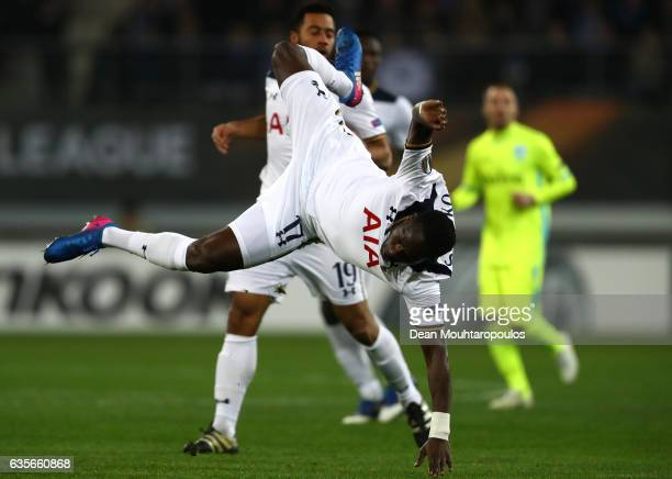 Moussa Sissoko of Tottenham Hotspur in action during the UEFA Europa League Round of 32 first leg match between KAA Gent and Tottenham Hotspur at...